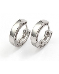 Cubic Zirconia And Rhodium Plated Hoop Earrings
