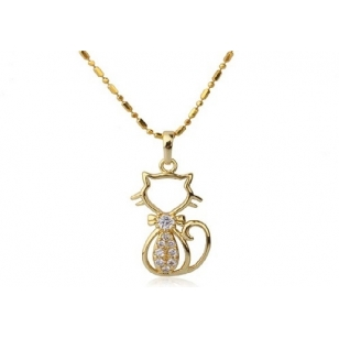 18K Gold Plated Cat Necklace and Pendant Set