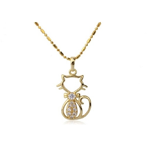 10 18k gold plated cat necklace and pendant set 18k gold plated cat necklace and pendant set loading zoom aloadofball Gallery