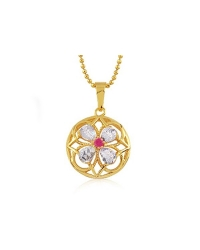 18K Gold Plated and Cubic Zirconia Flower Pendant and Necklace