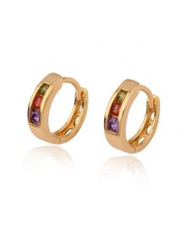 18K Gold Plated Hoop Earrings with Multicolour Stones
