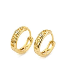 14K Gold Plated Patterned Hoop Earrings