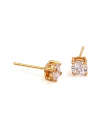 18K Gold Plated Solitaire Stud Earrings