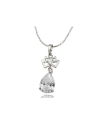 Rhodium Plated and Cubic Zirconia Bow Tie Pendant and Necklace