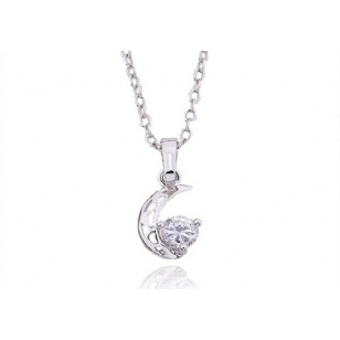 Rhodium Plated and Cubic Zirconia Pendant and Necklace Set