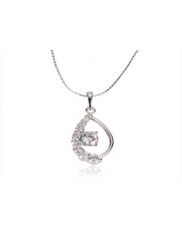 Rhodium Plated and Cubic Zirconia Drop Pendant and Chain
