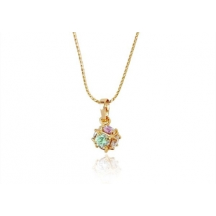 18K Gold Plated Crystal Ball Pendant and Necklace