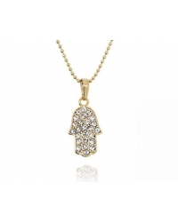 18K Gold Plated Crystal Pave Hamsa Hand Pendant and Necklace Set