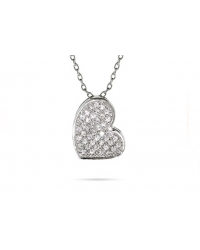 Rhodium Plated and Cubic Zirconia Heart Pendant and Necklace Set