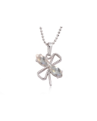 Rhodium Plated Butterfly Pendant and Necklace