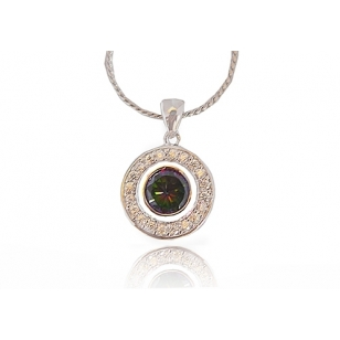 Rhodium Plated Pendant and Necklace Set