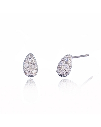 Rhodium Plated Pear Shaped Stud with Cubic Zirconia