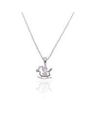 Rhodium Plated Rocking Pony Pendant and Necklace