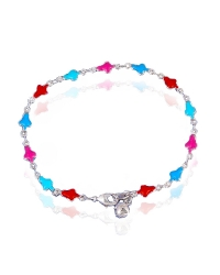 Rhodium Plated Multicolor Clover Bracelet