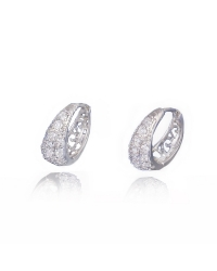 Rhodium Plated and Cubic Zirconia Hoop Earrings