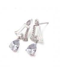Rhodium Plated and Cubic Zirconia Earrings