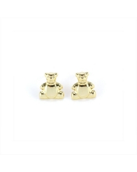 14K Gold Plated Teddy Bear Pin Earrings