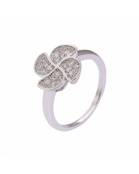 Rhodium Plated Micro Pave Clover Ring