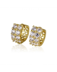 18K Gold Plated Hoop Earrings with Cubic Zirconia