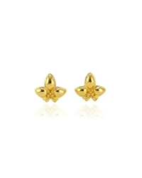 18K Gold Plated Fleur de Lys Pin Earrings