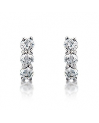 Rhodium Plated 3 Stone Earrings