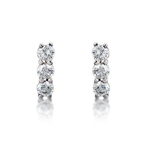 Rhodium Plated 3 Stone Earrings Loading Zoom