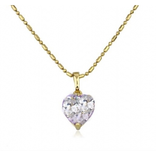 18K Gold Plated Heart Shaped Solitaire Pendant and Necklace