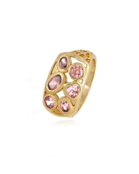 18K Gold Plated Ring with Pink Stones