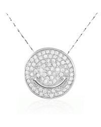 Micro Pave Smiley Face Pendant and Necklace