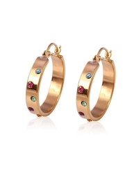 18K Gold Plated Hoop Earrings With Multi-Colored Stones