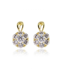18K Gold Plated Cubic Zirconia Flower Earrings