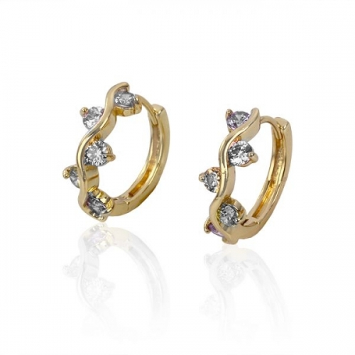 18k Gold Plated Hoop Earrings With Cubic Zirconia Loading Zoom