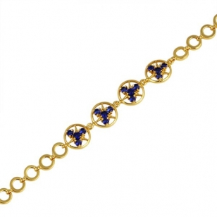 18K Gold Plated Bracelet with Blue Stones