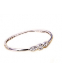 Rhodium Plated Cubic Zirconia Bangle