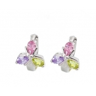 Rhodium Plated and Cubic Zirconia Flower Earrings