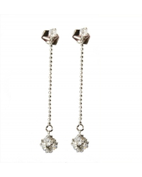 Rhodium Plated Cubic Zirconia Drop Earrings
