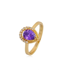 18K Gold Plated Ring with Purple Solitaire Stone