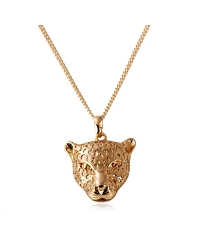 18K Gold Plated Tiger Pendant and Necklace Set