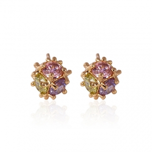 18K Gold Plated Multicolor Color Ball Studs