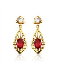 14K Gold Plated Red Cubic Zirconia Earrings