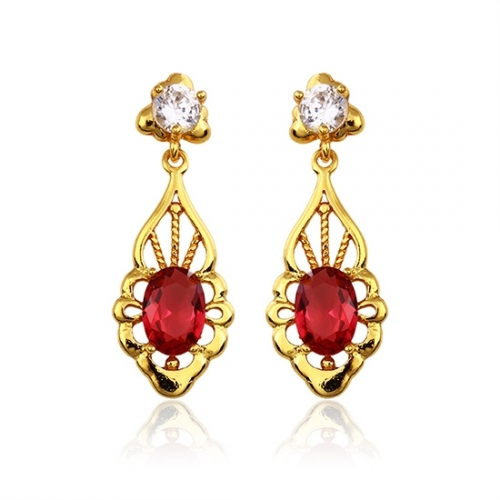 14k Gold Plated Red Cubic Zirconia Earrings Loading Zoom