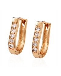 18K Gold Plated Cubic Zirconia Hoop Earrings