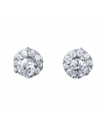 Rhodium Plated Cubic Zirconia Stud Earrings