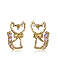 18K Gold Plated Cat Earrings
