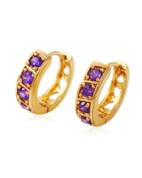 18K Gold Plated Hoop Earrings With Purple Stones