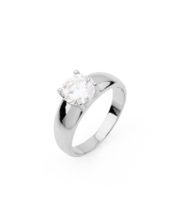 Rhodium Plated Solitaire Ring