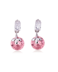 Rhodium Plated Pink Drop Earrings
