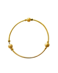 18K Gold Plated Bangle with Frosted Balls