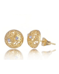 18K Gold Plated Stud Earrings with Cubic Zirconia