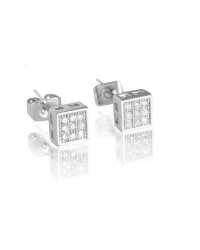 Rhodium Plated Micro Pave Square Stud Earrings
